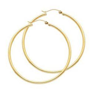 Yellow 14k 2 inches Endless Hoop Earrings